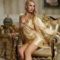 XIFENNI Марка Женщины Халаты Атласная Шелковый Халат Наборы Мода Желтый Пижамы Цветок Вышивка Кружева V-образным Вырезом Белье Набор 1523