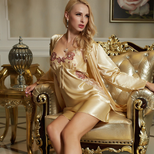 XIFENNI Brand Women Bathrobes Satin Silk Robe Sets Fashion Yellow Sleepwear Flower Embroidery Lace V-neck Lingerie Set 1523