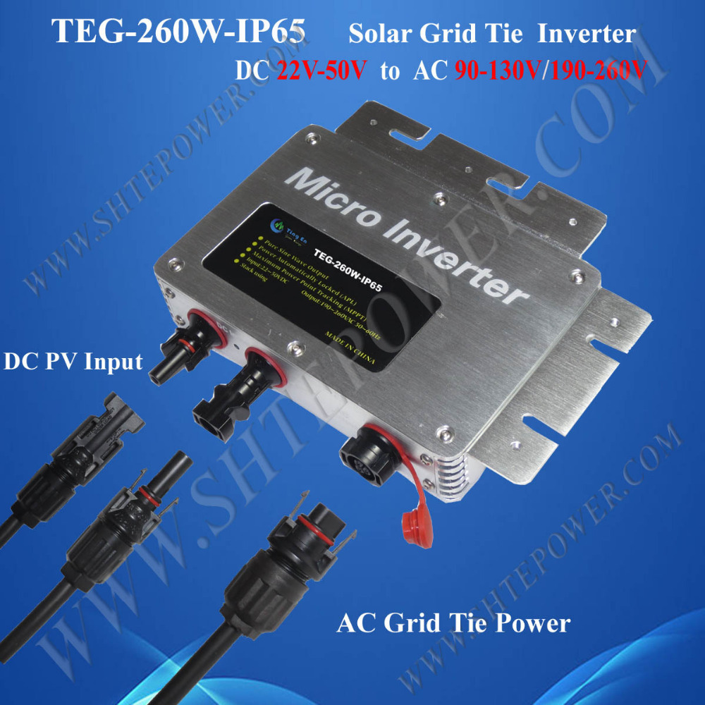 Grid Tie Solar Waterproof Micro Inverter 260W DC 22-50V To AC 110V 120V 220V 230V 240V 22 50v dc to ac110v or 220v waterproof 1200w grid tie mppt micro inverter with wireless communication function for 36v pv system
