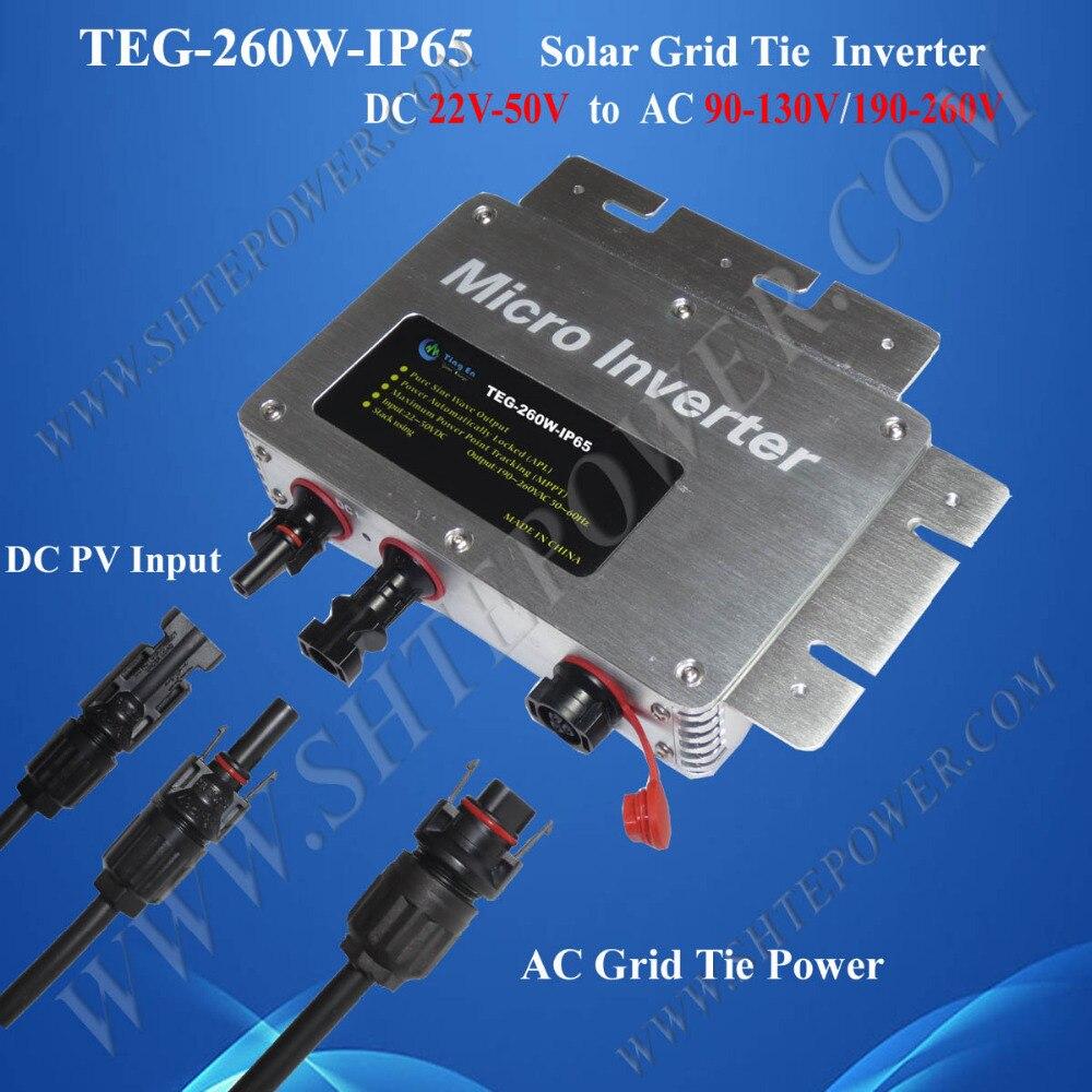 Grid Tie Solar Waterproof Micro Inverter 260W DC 22-50V To AC 110V 120V 220V 230V 240V
