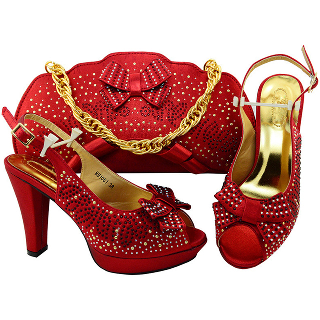New Arrival African Italian Shoes and Bag Set Red Color Italian Shoes with Matching  Bags Nigerian Women Wedding Shoe and Bag Set 22419e728b3c