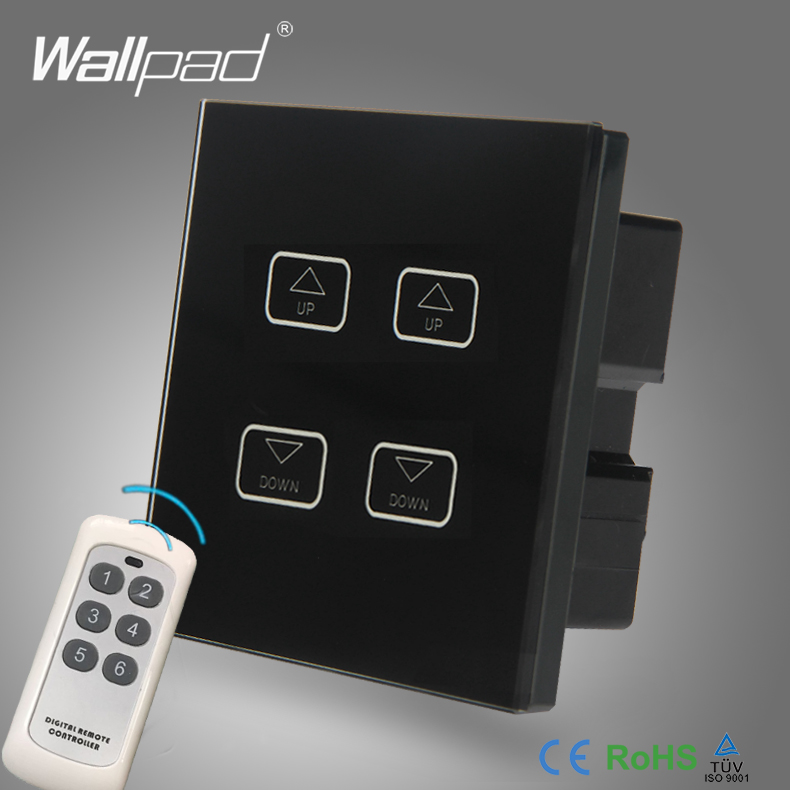 WIFI 4 Gang Remote Dimmer Wallpad Black Tempred Glass Wireless 4 Gang Gateway WIFI Remote Controlled Light Dimmer Dimming Switch