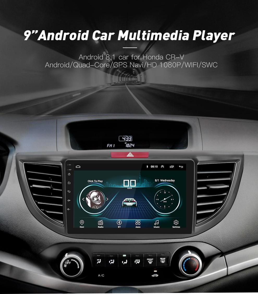 Android 8 1 Quad-core Car Radio GPS Navigation Head Unit Player for 2012-  2015 Honda CRV 9 inch HD 1024*600 2019 christmas