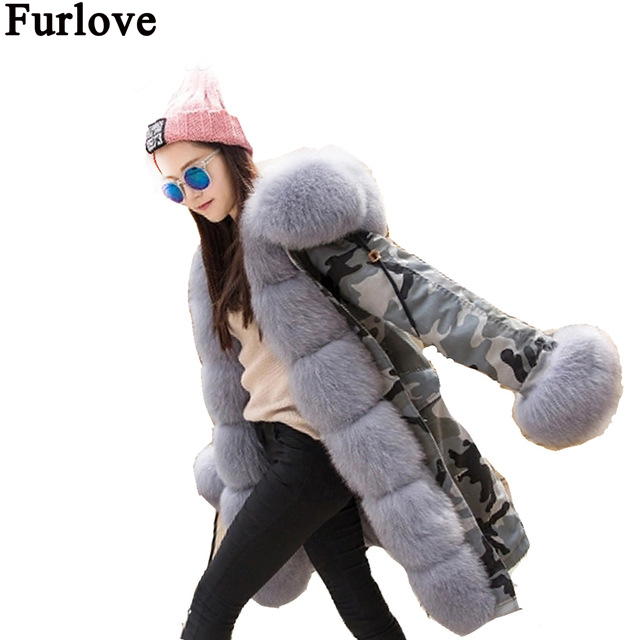 Furlove Real Rex Rabbit Fur American Army Parkas with Thick Fox Fur Collar Long Women Military Coat Hooded Wadded Jacket 2017 winter new clothes to overcome the coat of women in the long reed rabbit hair fur fur coat fox raccoon fur collar