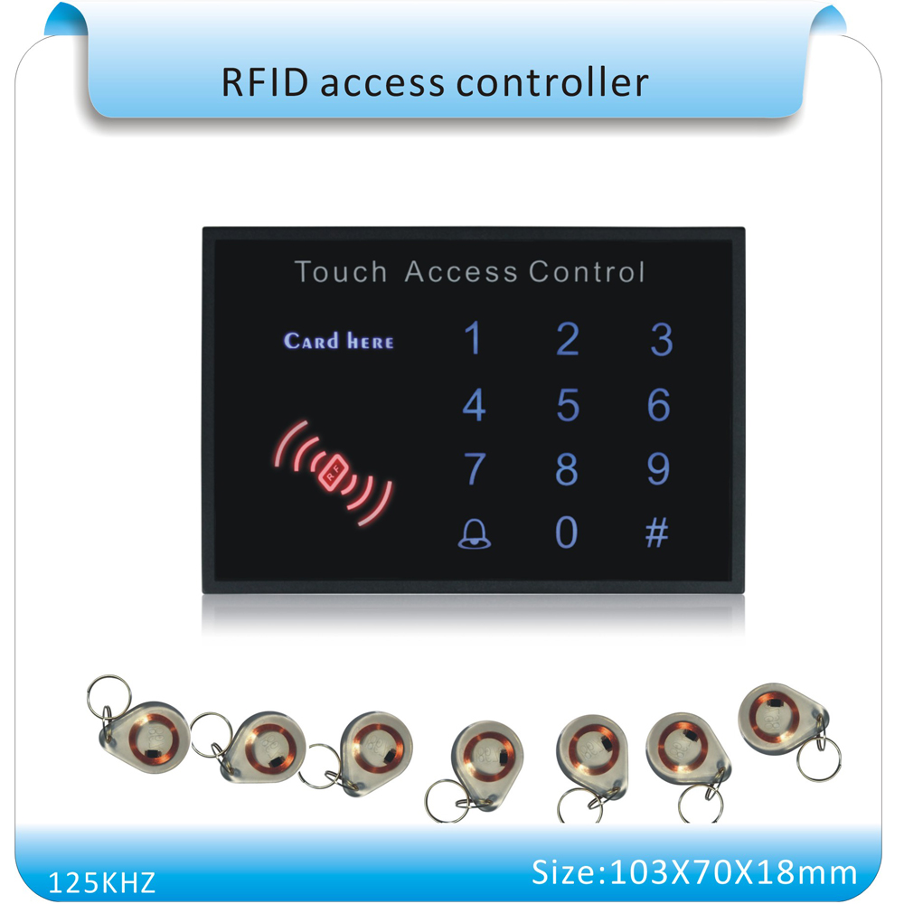 Free shipping acrylic waterproof panel Security password&RFID Proximity Entry Door Lock Access Control System+10 crystal keyfobs