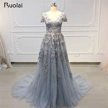 9f6dc2f0aee Шикарное вечернее женское платье Длинные V образным вырезом Аппликация  Жемчуг вечернее платье с бисером торжественное платье для выпускно.
