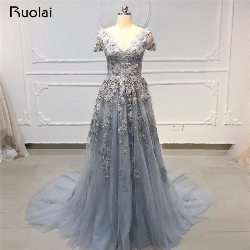 Gorgeous   Evening     Dresses   Long V Neck Applique Pearls Beaded   Evening   Gown Formal   Dress   Prom   Dress   2019 Vestido de Fiesta SN34