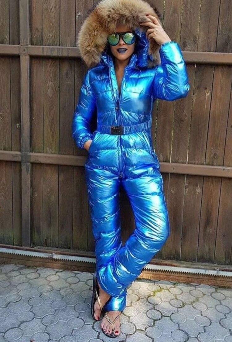 Индивидуальные супер натуральный мех 2018 зимний комбинезон Для женщин белый куртки пуховики Для женщин лыжный костюм пуховая куртка открыт
