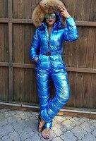Подгонянный супер натуральный мех 2018 зимний комбинезон женский белый утиный пух куртки Женский лыжный костюм пуховик уличная верхняя одеж