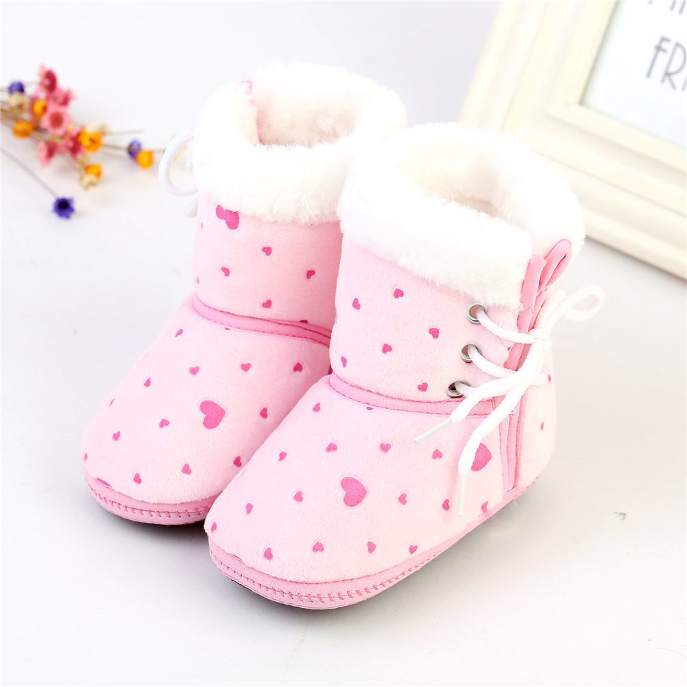 Cute Kids Baby Girls Winter Warm Snow Shoes Soft Bottom Fleece Crib Boots 6-12M