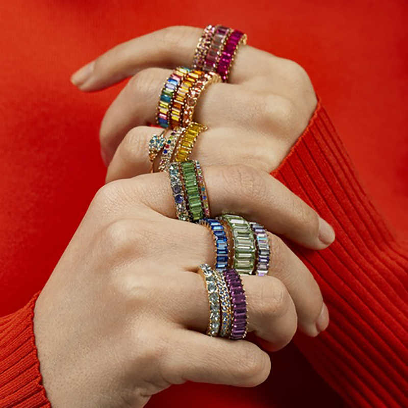 Лучшие леди Бохо модные Хрустальные Обручальные кольца для женщин брендовый дизайн круглый сердце девушки подарок богемное стекло обещания кольца Лидеры продаж