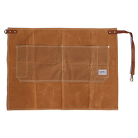 WEEYI Professional Brown Heavy Duty Wax Canvas Half Carpenter Aprons With Pockets And Real Leather Straps