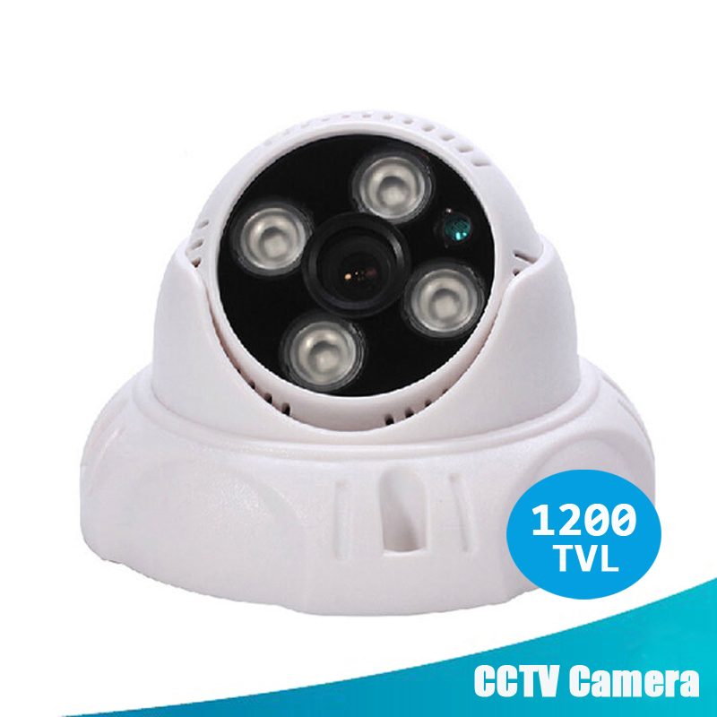CCTV Security Camera 1200TVL 1/3 SONY CMOS 4 Array IR LED Color  Night Vision Surveillance Dome Camera Home Indoor Video Camera 1 3 sony cmos 1200tvl cctv security camera metal ip66 24 led color ir night vision surveillance home outdoor video camera