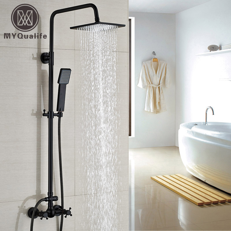 Dual Handles Shower Mixer Faucet Wall Mount Handheld Shower Water Taps with ABS Handshower china sanitary ware chrome wall mount thermostatic water tap water saver thermostatic shower faucet