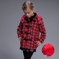 2017 Rushed Mandarin Collar Full Winter New Style Girls Thickening Wool Coat Plaid Ong Sleeve Parka Long Clothing Girl Jacket