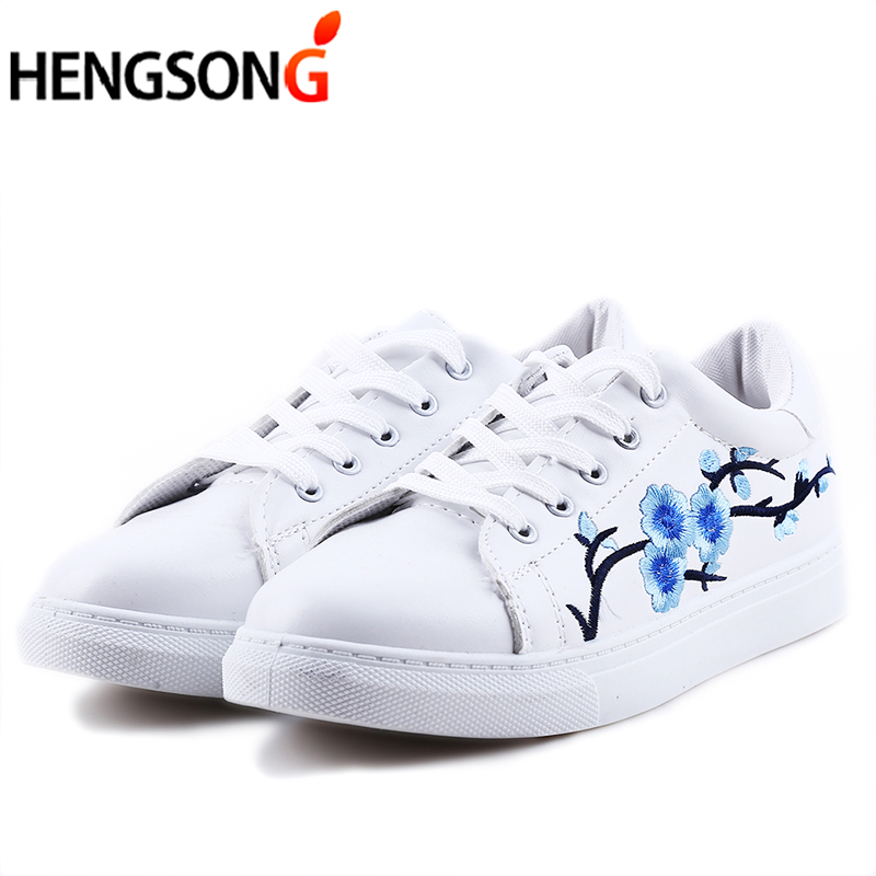 Women Shoes 2018 Spring Embroidery Flower Floral Flats Vintage Female Casual Shoes Sneakers Leather Lace-Up White Shoes Students rizabina concise women sneakers lady white shoes female butterfly cross strap flats shoes embroidery women footwear size 36 40