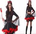 Бесплатная Доставка Взрослые сексуальные женщины костюмы ролевые хэллоуин униформа Сексуальный костюм Дьявола Миссис Иблис Костюм с вилкой S-2XL