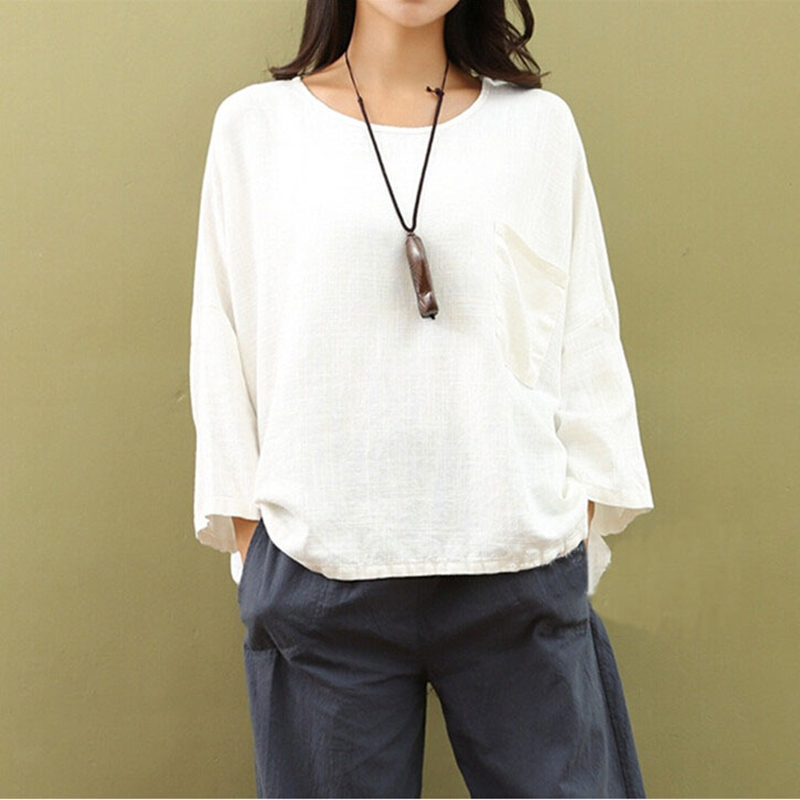 Chinese Style Summer Breathable Female White Linen Shirt