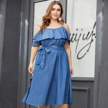 Plus Size Sexy Cold Shoulder Denim Blue Ruffles Dresses Collect Waist Big Size Denim Dress Summer Sashes Ruffle Jeans Vestidos plus cold shoulder ruffle denim dress