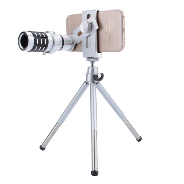 HOT 3 color de Lente de La Cámara Lente de 12X de Zoom Óptico Teleobjetivo Teléfono cámara telescopio lente + trípode del montaje para iphone samsung todos los teléfonos