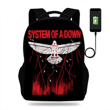 Bagpack Men College System OF A Down Print Backpack usb Charger Schoolbag for Laptop Backpacks Teenage SchoolBag Boys Girls
