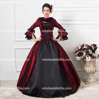 18th Century Ball Gown Women's Theatre Vintage Dresses Burgund and Black Belle Gown Costume