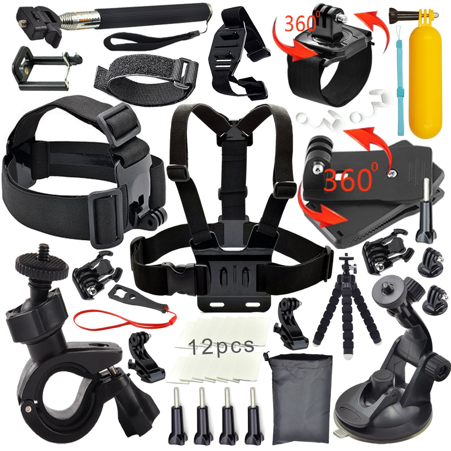 FeoconT Outdoor Sports Essentials Kit for GoPro Hero 4 Silver Black Hero 4 3 3 2
