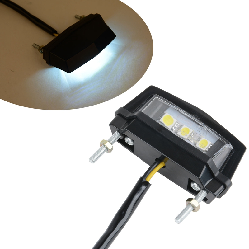 High Quality Mini Motorcycle White LED License Plate LED Lamp 12V Rear Tail Number Light For Honda Kawasaki Yamaha Suzuki