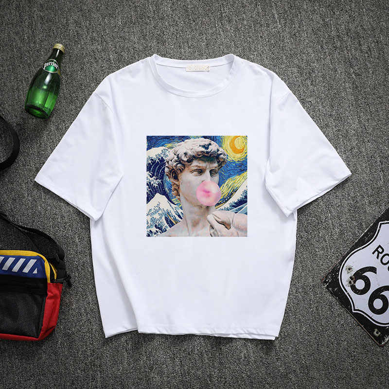 New Fashion Tee Shirt Femme Michelangelo David Print Harajuku Funny Kawaii Shirt Women Vintage Woman T-shirt Tops Ulzzang Tumblr