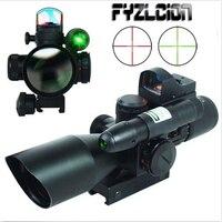 Охота 2,5 10X40 Тактический прицел w/зеленый лазер и мини рефлекс 3 MOA в красный горошек прицел