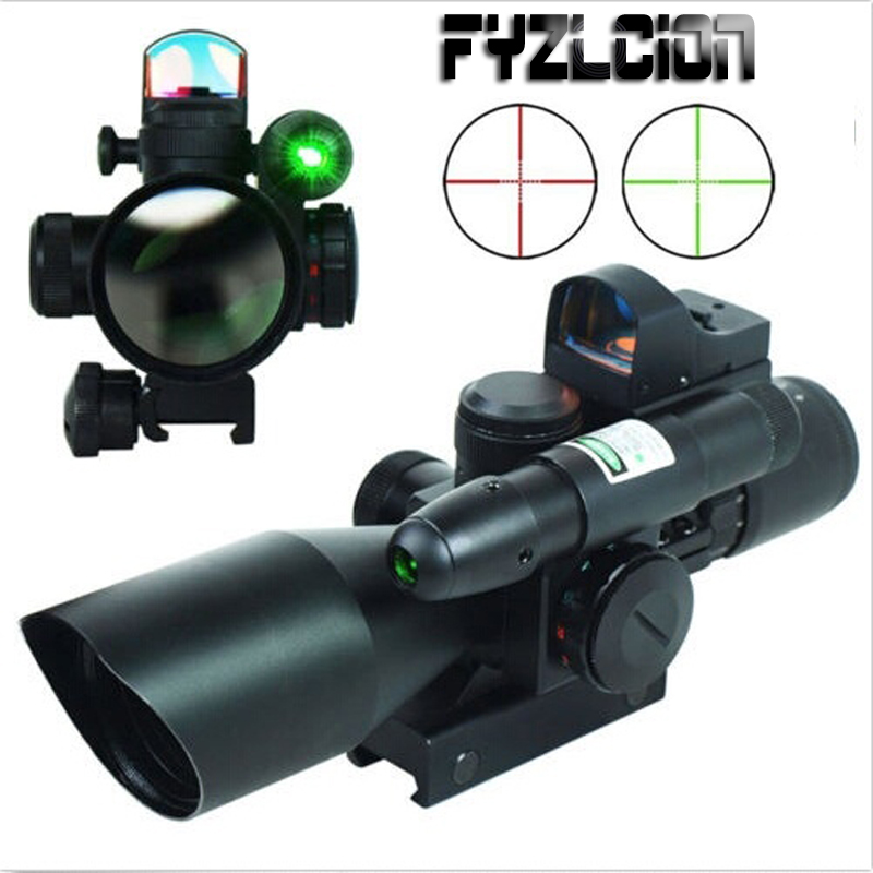 Hunting 2.5-10X40 Tactical Rifle Scope w/ Green Laser & Mini Reflex 3 MOA Red Dot Sight 2 5 10x40 e r tactical rifle scope with red laser