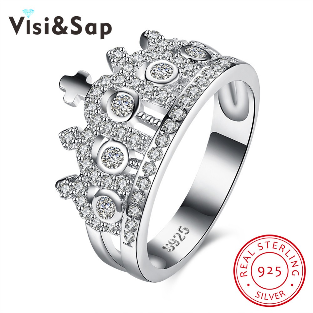 Visisap Luxury Palace King Crown rings for men women 100% Pure 925 ...
