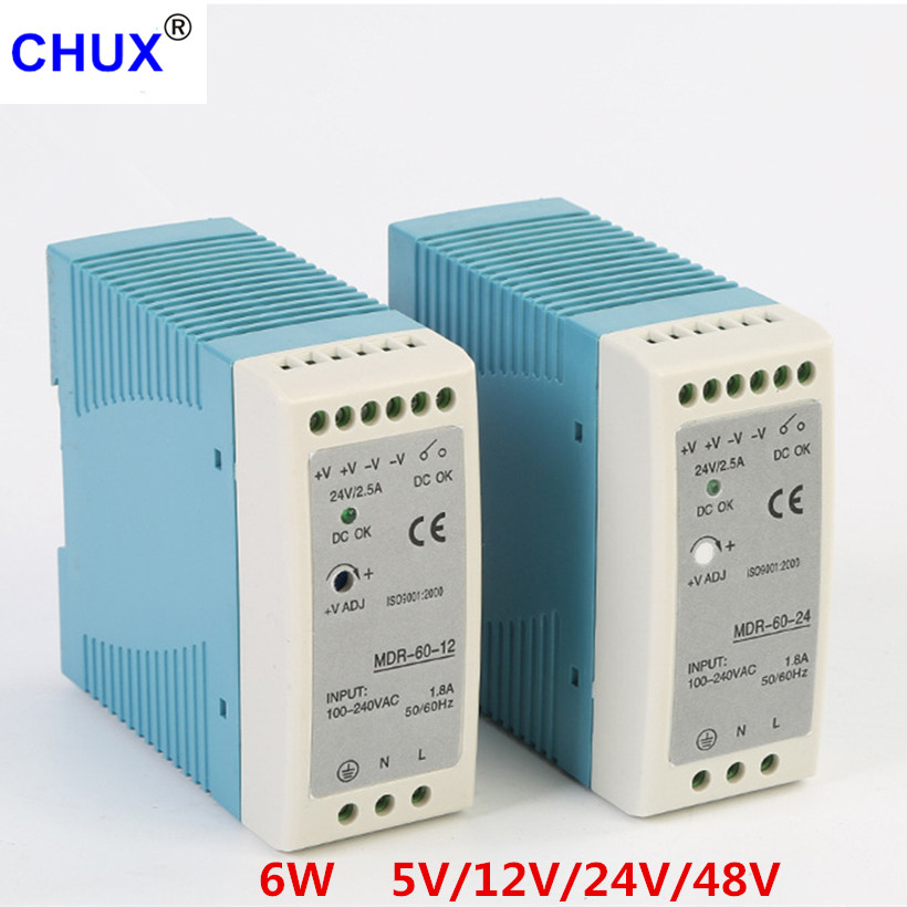 CHUX High Quality Din Rail Switching Power Supply 60W 5V 12V 24V 48v output LED Driver CE Certificate MDR-60 Transformer free shipping din rail industry switching power supply mdr 60w 5v 12a for cnc cctv led light mdr60w 5v