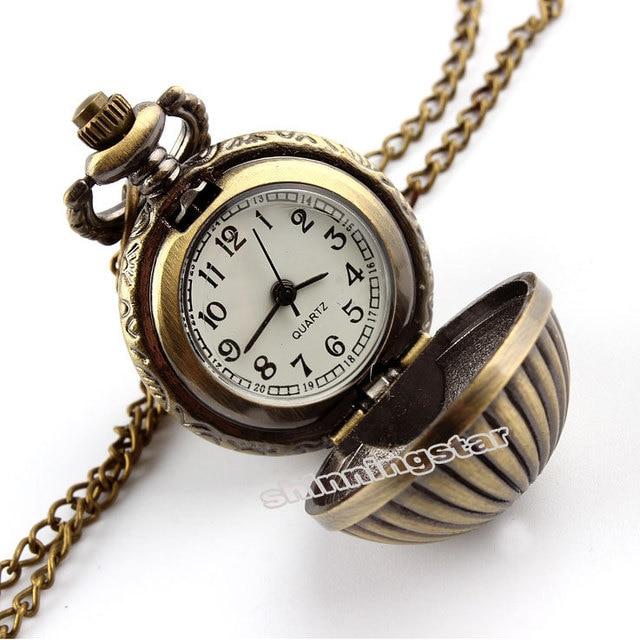 Retro Antique Bronze Mini Pumpkin Ball Pocket Watch With Necklace Pendant Metal