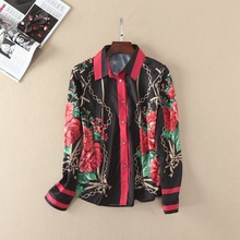 European and American style rose print shirts 2017 spring woman's full sleeve fashion print blouse shirt S-XL size