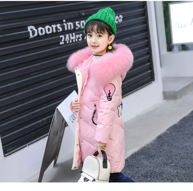 30a7400674f3 2017 New Kids Winter Fur Hooded Jackets For Girls Parkas Baby Girl ...