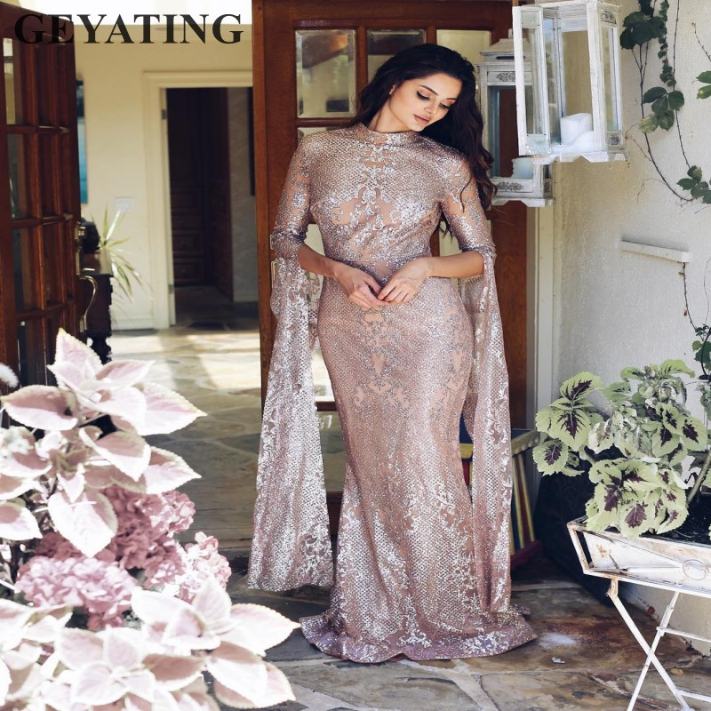 Saudi Arabic Silver Sequined Mermaid Evening Dress Long Sleeves High Neck Rose Gold Dubai Kaftan Prom Dresses 2019 Long Maxi Gow