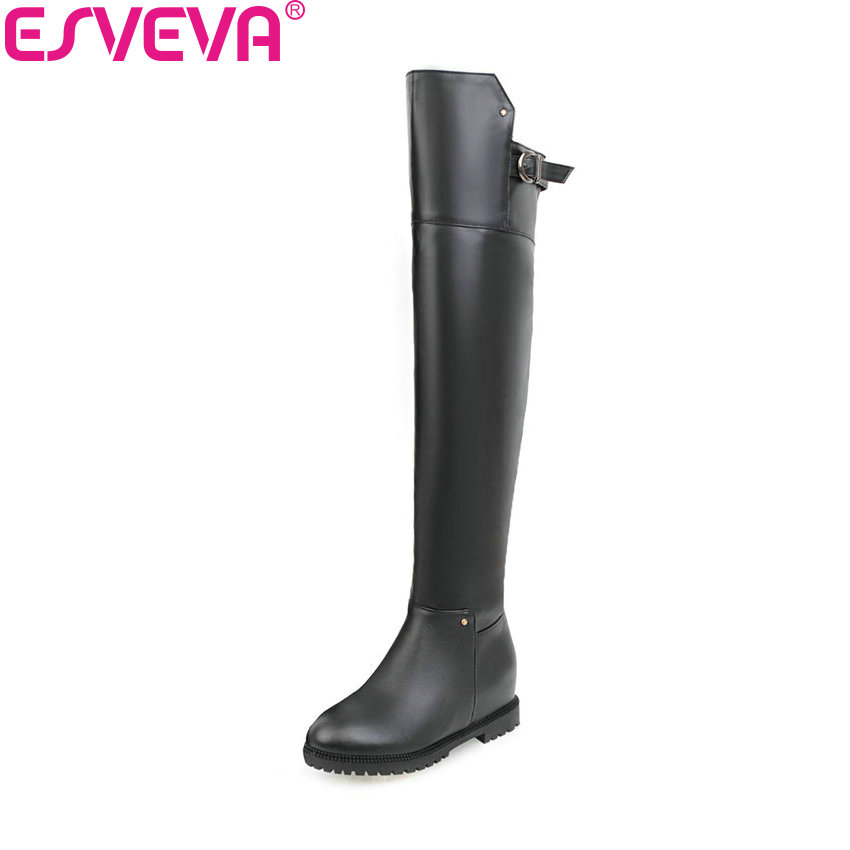 ESVEVA 2018 Women Boots PU Leather Short Plush Out Door Round Toe Over The Knee Boots Square Med Heel Ladies Boots Size 34-43 esveva 2018 women boots lining short plush chunky square high heel ankle boots slim look pointed toe ladies boots size 34 43