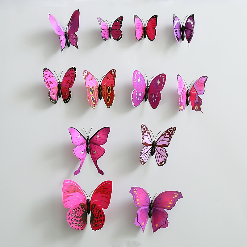 2set(24pcs.) Creative Purple A PVC Butterfly With Safty Pin Home Wedding Decoration Curtain Cloth decoration