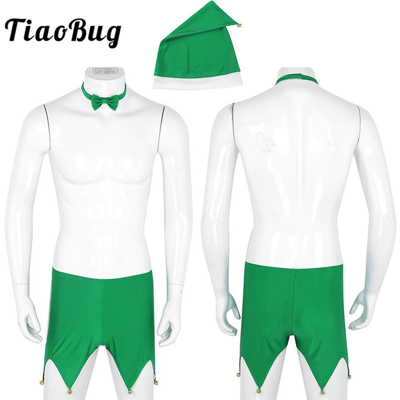 Tiaobug Men Green Boxer Shorts With Hat Bow Tie Set Adult Christmas Elf Costume Fancy -4239