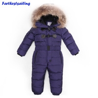 30 Degree Winter Children Jumpsuit Down Jacket For Girl clothes Boy Outerwear Coat Thicken Waterproof Snowsuits Kids Ski Suit