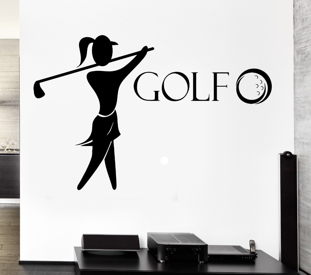 Golf Vinyl Wall Decal Golf Club Player English Sports Girl Fan Mural Art Wall Sticker Girls Bedroom Home Decorative Decoration
