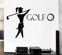 Golf Vinyl Wall Decal Golf Club Player English Sports Girl Fan Mural Art Wall Sticker Girls Bedroom Home Decorative Decoration