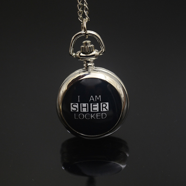 Fashion Quartz I AM SHERLOCKED Pocket Watch Necklace Woman Cute Silver Bronze Fo