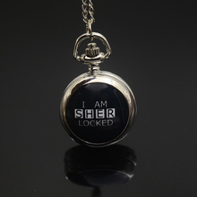 Trend Quartz I AM SHERLOCKED Pocket Watch Necklace Lady Cute Silver Bronze Fob Watches Image Black and White 2017