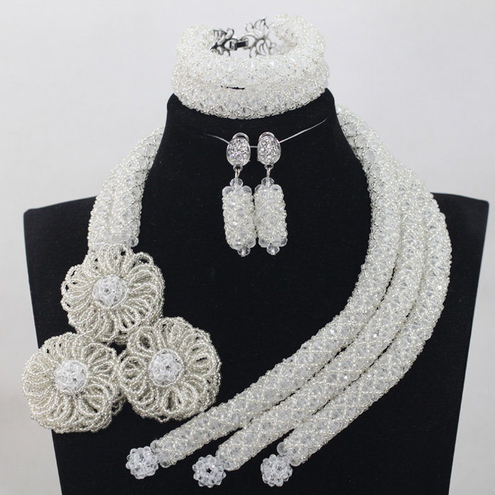 Trendy Milk White Crystal Jewelry Sets Nigerian African Wedding Bridal/Women Beads Necklace Jewelry Set Free Shipping ANJ233 graceful white african bridal beads jewelry set nigerian crystal rhinestone bridesmaid women wedding necklace free ship qw677