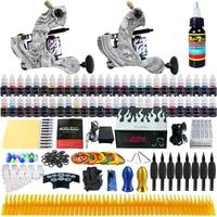 Solong Tattoo New 2 Pro Machine Guns Tattoo Kit 54 Inks Power Supply Needle Grips TK220US