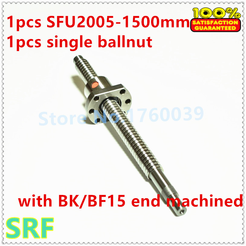 1pcs Dia:20mm Lead:5mm Rolled Ballscrew RM2005 L1500mm Ball Screw +1pcs single ball nut with BK/BF15 end machined for CNC noulei 20mm 2005 ball screw rolled c7 ballscrew sfu2005 500mm bk15 bf15 end processing one 2005 flange single ball nut for cnc