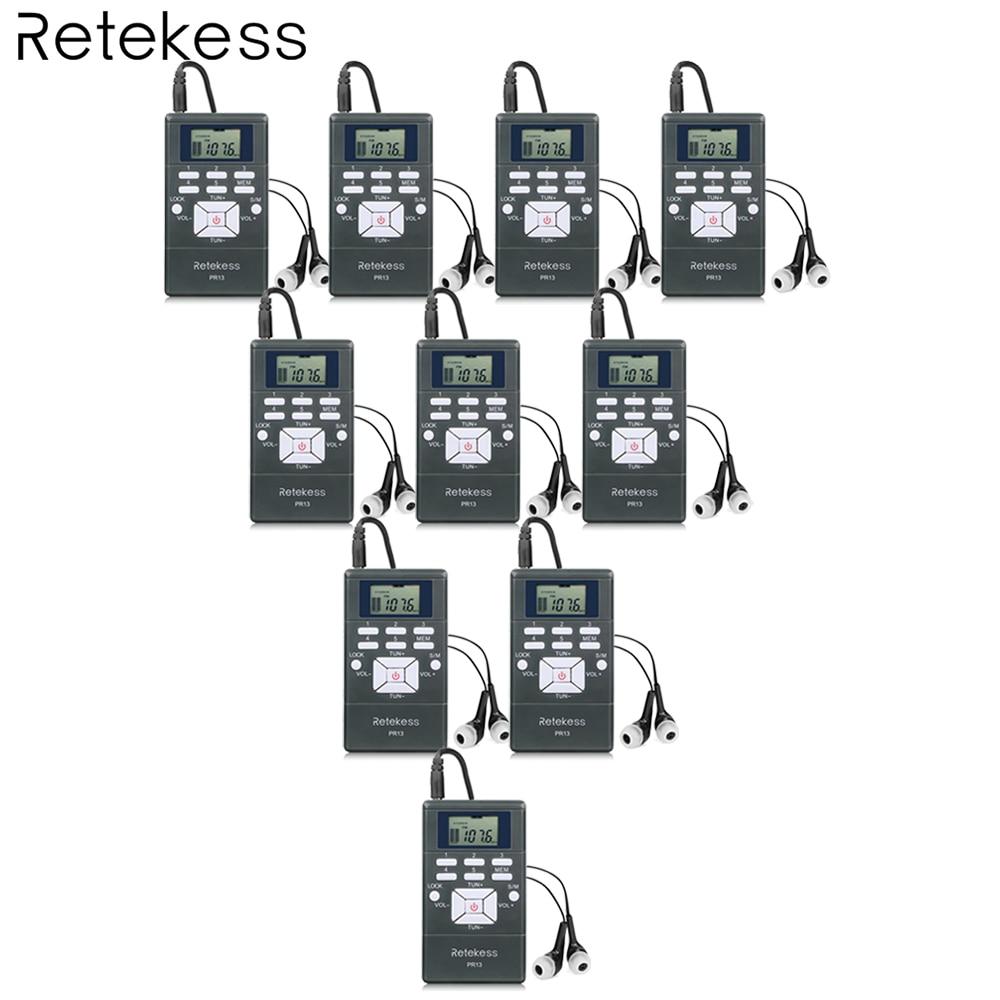 10pcs PR13 DSP Radio Portable FM Radio Receiver Pocket Radio for Large meeting Simultaneous Interpretation with Earphone F9213 5pcs pocket radio 9k portable dsp fm mw sw receiver emergency radio digital alarm clock automatic search radio station y4408