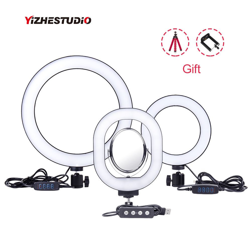 "Yizhestudio 6 ""/10"" Ring Licht Dimmbare LED Selfie Ring Lichter für Live Studio Make-Up Fotografie mit Freies stative Telefon Clip"